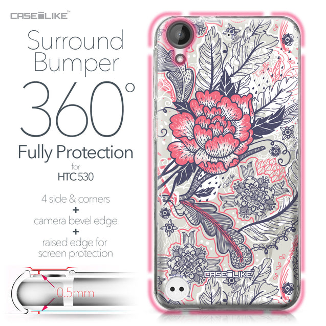 HTC Desire 530 case Vintage Roses and Feathers Beige 2251 Bumper Case Protection | CASEiLIKE.com