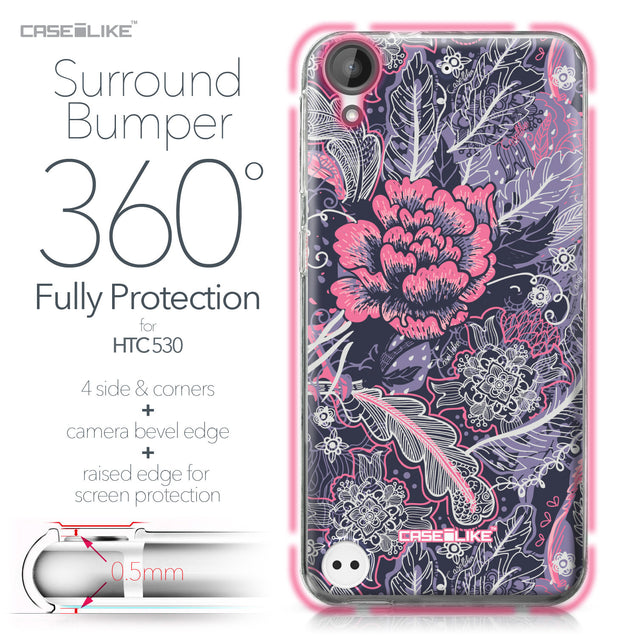 HTC Desire 530 case Vintage Roses and Feathers Blue 2252 Bumper Case Protection | CASEiLIKE.com