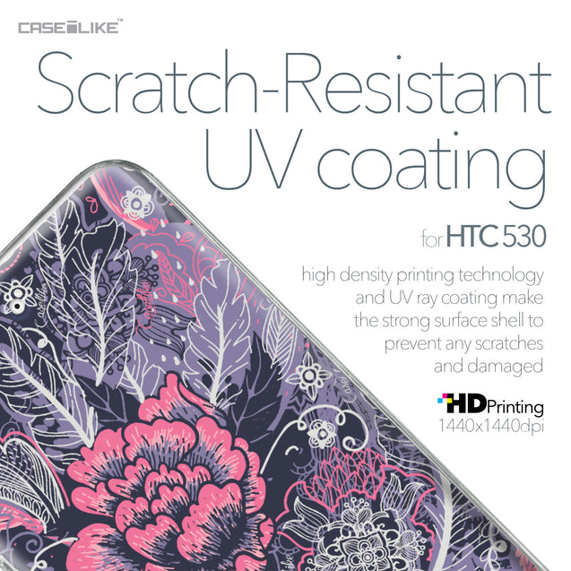 HTC Desire 530 case Vintage Roses and Feathers Blue 2252 with UV-Coating Scratch-Resistant Case | CASEiLIKE.com