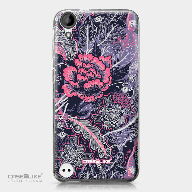 HTC Desire 530 case Vintage Roses and Feathers Blue 2252 | CASEiLIKE.com