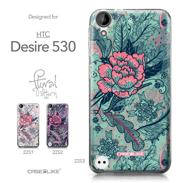HTC Desire 530 case Vintage Roses and Feathers Turquoise 2253 Collection | CASEiLIKE.com