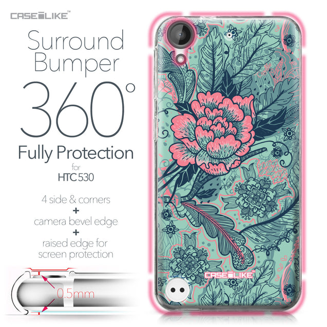 HTC Desire 530 case Vintage Roses and Feathers Turquoise 2253 Bumper Case Protection | CASEiLIKE.com