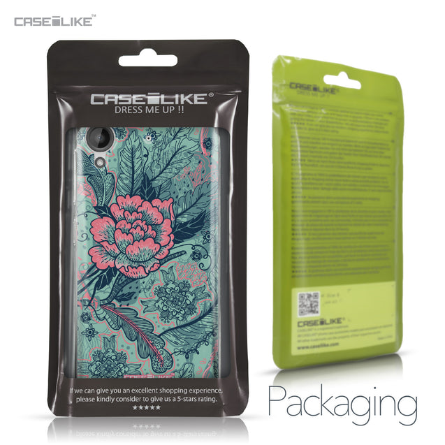 HTC Desire 530 case Vintage Roses and Feathers Turquoise 2253 Retail Packaging | CASEiLIKE.com
