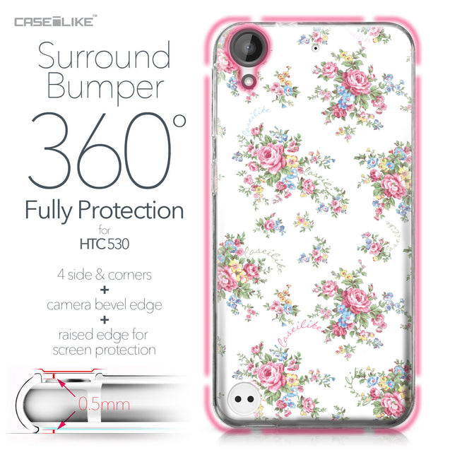 HTC Desire 530 case Floral Rose Classic 2260 Bumper Case Protection | CASEiLIKE.com