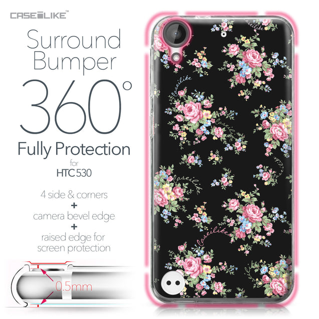 HTC Desire 530 case Floral Rose Classic 2261 Bumper Case Protection | CASEiLIKE.com