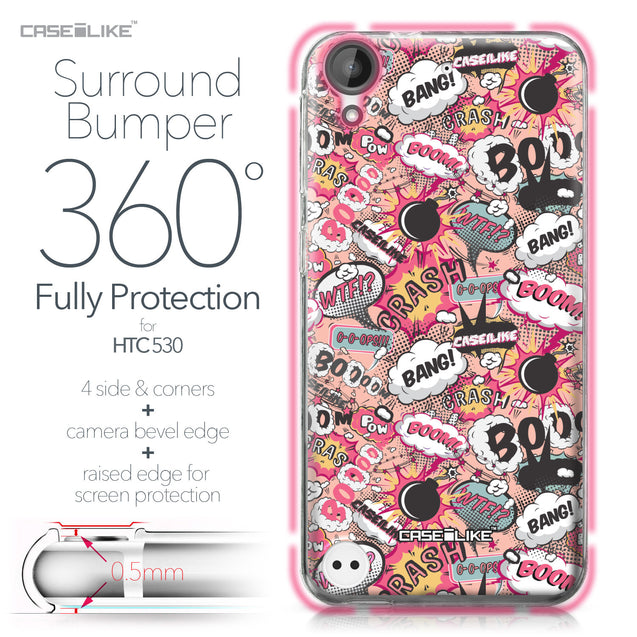 HTC Desire 530 case Comic Captions Pink 2912 Bumper Case Protection | CASEiLIKE.com