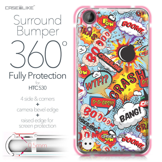 HTC Desire 530 case Comic Captions Blue 2913 Bumper Case Protection | CASEiLIKE.com