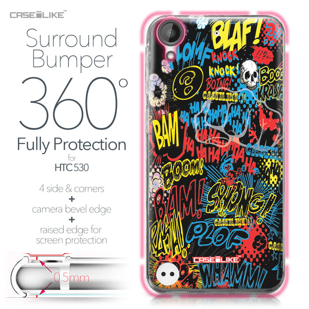 HTC Desire 530 case Comic Captions Black 2915 Bumper Case Protection | CASEiLIKE.com