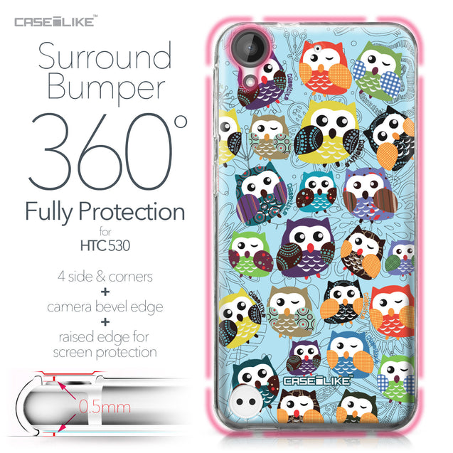 HTC Desire 530 case Owl Graphic Design 3312 Bumper Case Protection | CASEiLIKE.com