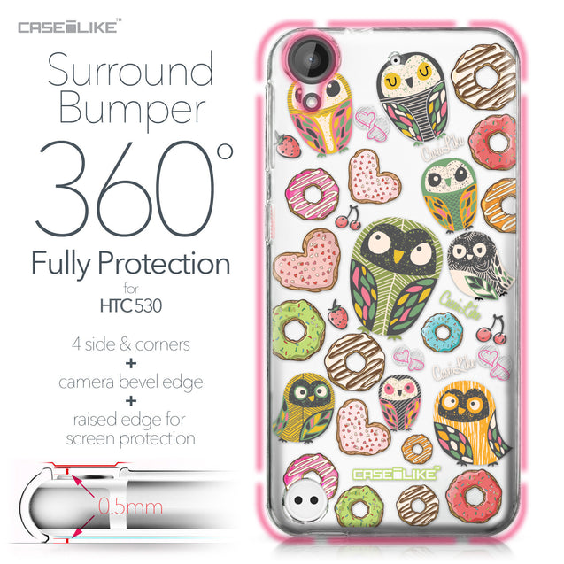 HTC Desire 530 case Owl Graphic Design 3315 Bumper Case Protection | CASEiLIKE.com
