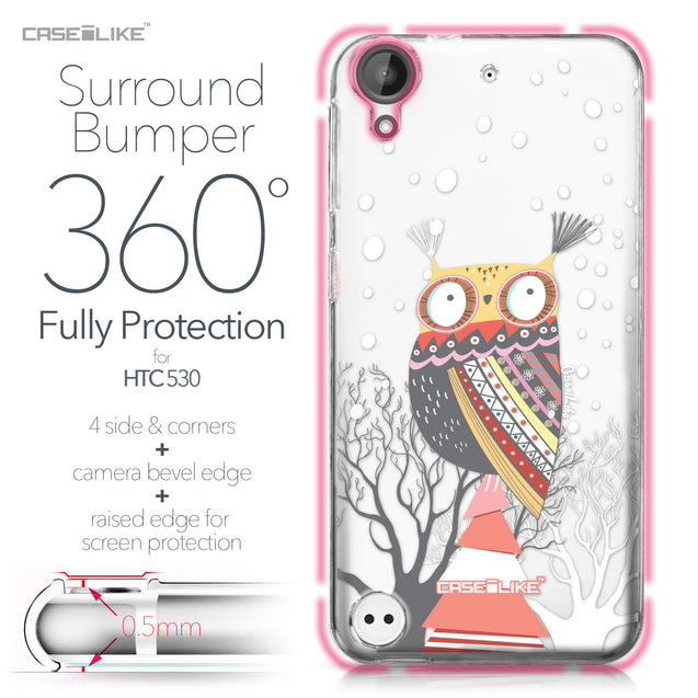 HTC Desire 530 case Owl Graphic Design 3317 Bumper Case Protection | CASEiLIKE.com