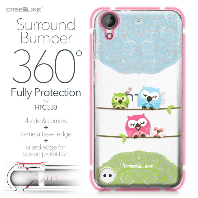 HTC Desire 530 case Owl Graphic Design 3318 Bumper Case Protection | CASEiLIKE.com