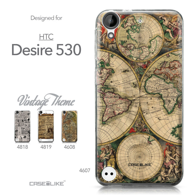 HTC Desire 530 case World Map Vintage 4607 Collection | CASEiLIKE.com