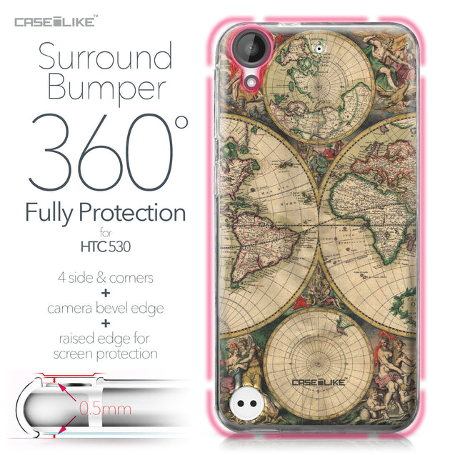 HTC Desire 530 case World Map Vintage 4607 Bumper Case Protection | CASEiLIKE.com