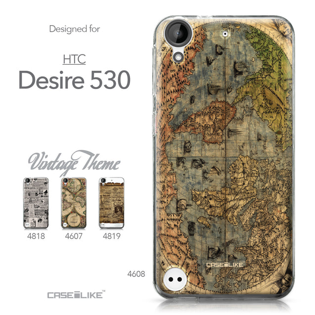 HTC Desire 530 case World Map Vintage 4608 Collection | CASEiLIKE.com
