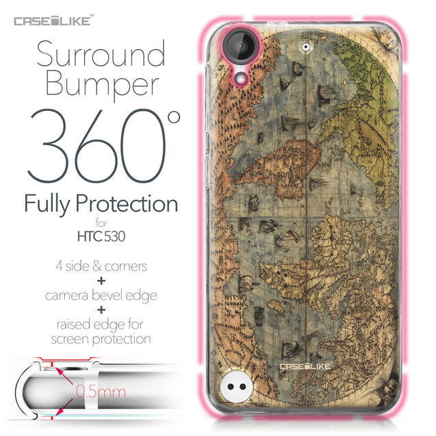 HTC Desire 530 case World Map Vintage 4608 Bumper Case Protection | CASEiLIKE.com