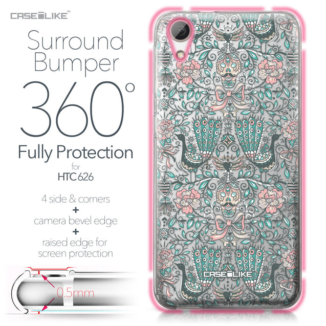 HTC Desire 626 case Roses Ornamental Skulls Peacocks 2226 Bumper Case Protection | CASEiLIKE.com