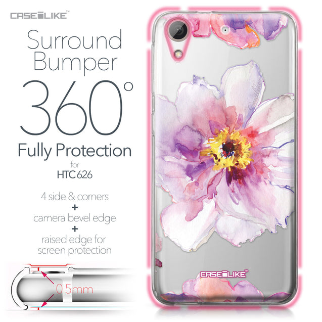 HTC Desire 626 case Watercolor Floral 2231 Bumper Case Protection | CASEiLIKE.com