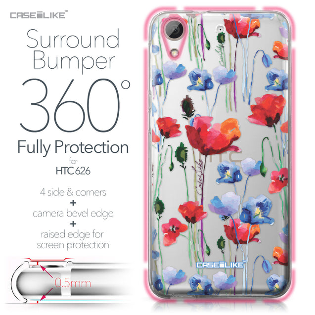 HTC Desire 626 case Watercolor Floral 2234 Bumper Case Protection | CASEiLIKE.com