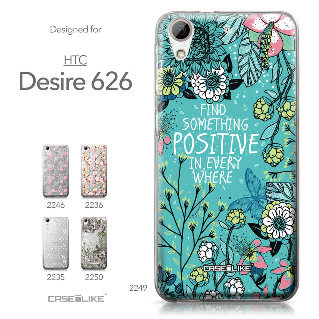 HTC Desire 626 case Blooming Flowers Turquoise 2249 Collection | CASEiLIKE.com