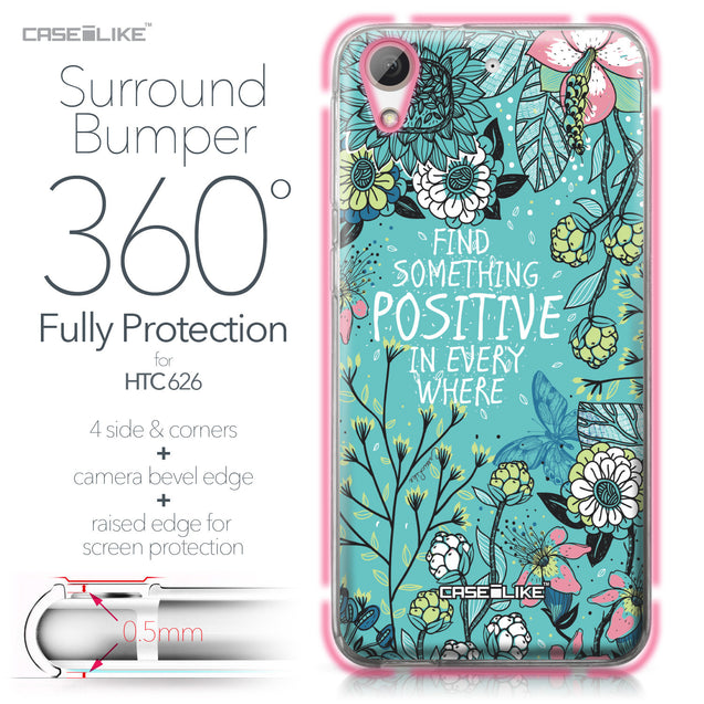 HTC Desire 626 case Blooming Flowers Turquoise 2249 Bumper Case Protection | CASEiLIKE.com
