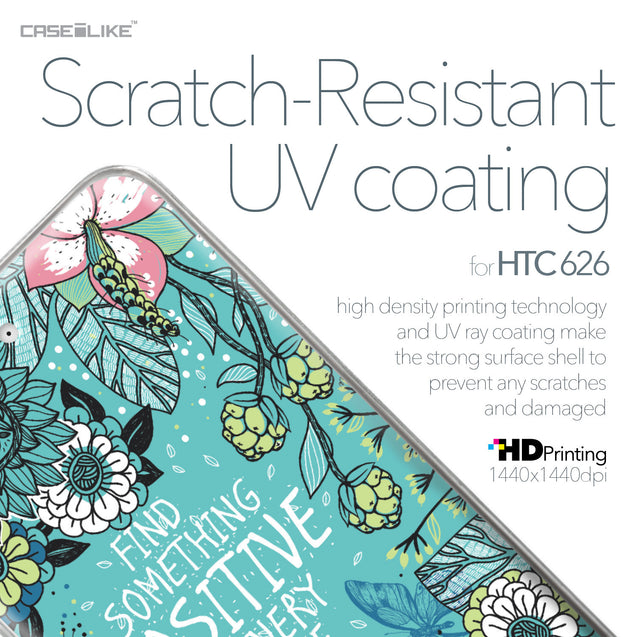 HTC Desire 626 case Blooming Flowers Turquoise 2249 with UV-Coating Scratch-Resistant Case | CASEiLIKE.com