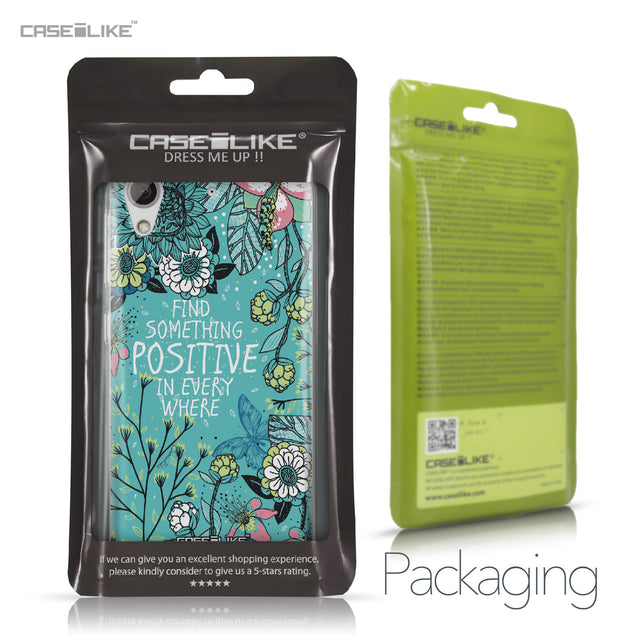 HTC Desire 626 case Blooming Flowers Turquoise 2249 Retail Packaging | CASEiLIKE.com
