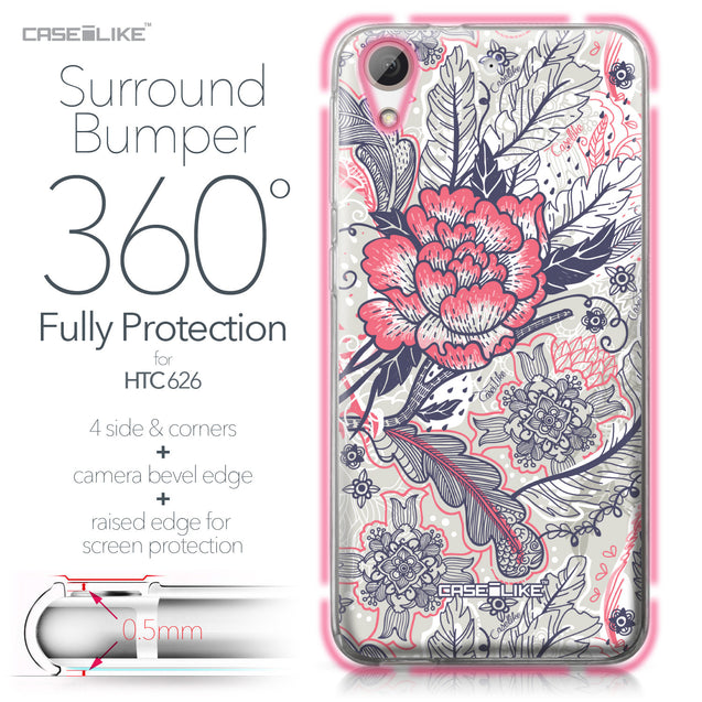 HTC Desire 626 case Vintage Roses and Feathers Beige 2251 Bumper Case Protection | CASEiLIKE.com