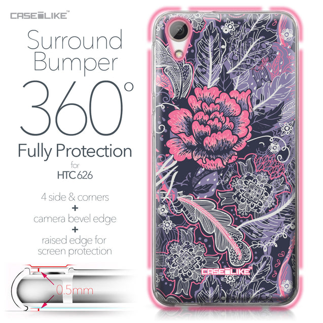 HTC Desire 626 case Vintage Roses and Feathers Blue 2252 Bumper Case Protection | CASEiLIKE.com