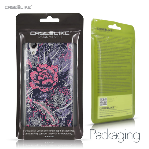 HTC Desire 626 case Vintage Roses and Feathers Blue 2252 Retail Packaging | CASEiLIKE.com