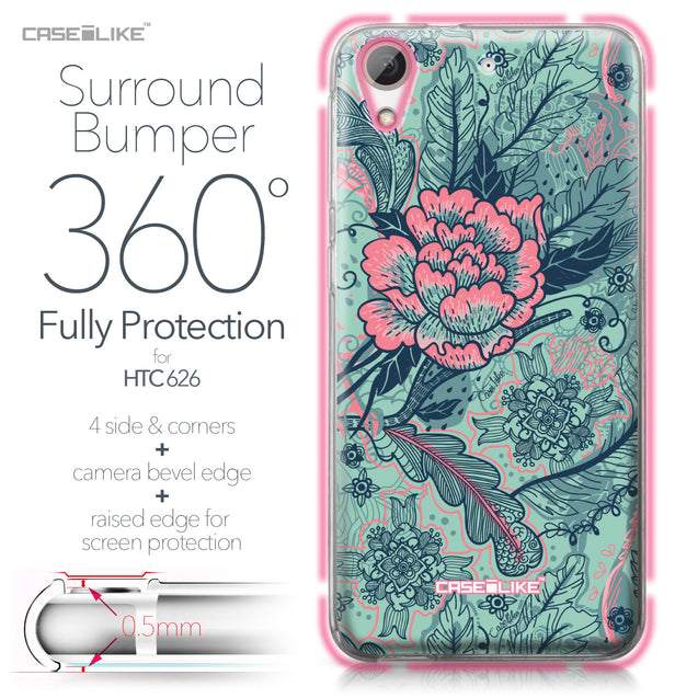 HTC Desire 626 case Vintage Roses and Feathers Turquoise 2253 Bumper Case Protection | CASEiLIKE.com