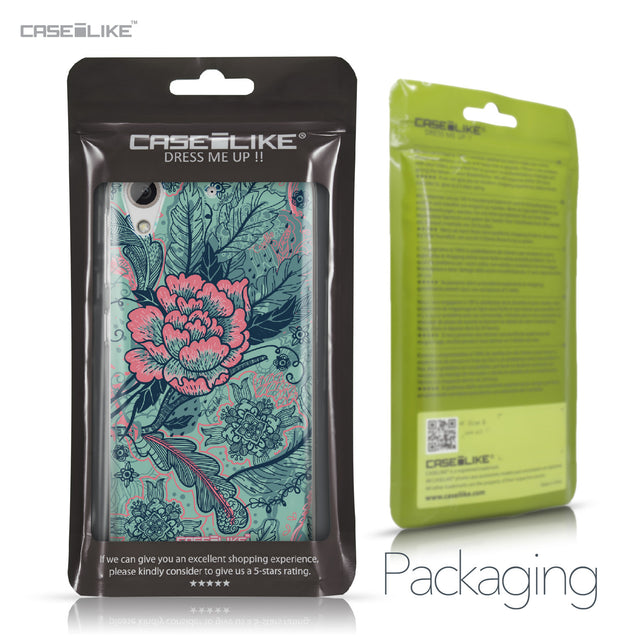 HTC Desire 626 case Vintage Roses and Feathers Turquoise 2253 Retail Packaging | CASEiLIKE.com