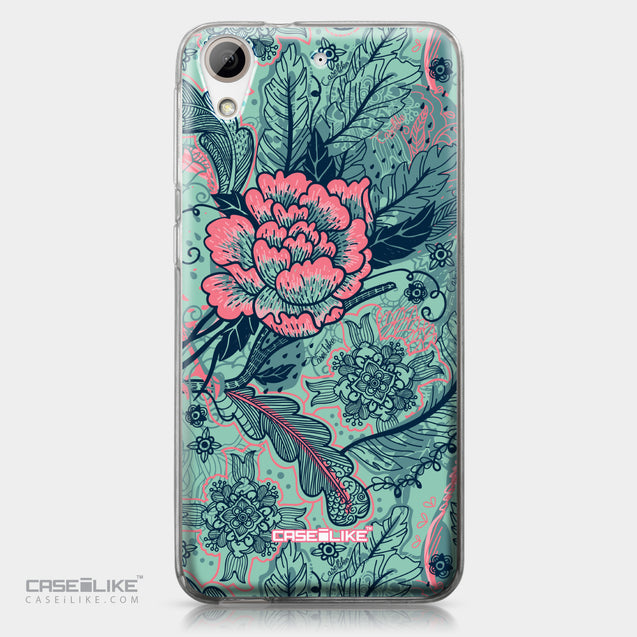 HTC Desire 626 case Vintage Roses and Feathers Turquoise 2253 | CASEiLIKE.com