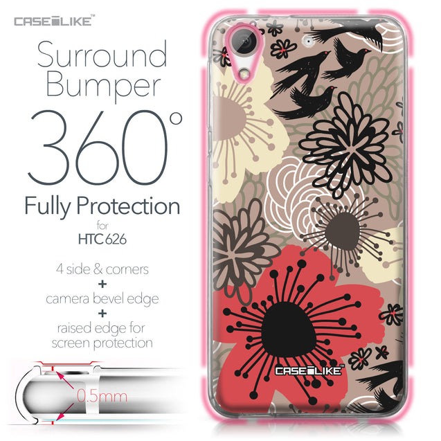 HTC Desire 626 case Japanese Floral 2254 Bumper Case Protection | CASEiLIKE.com