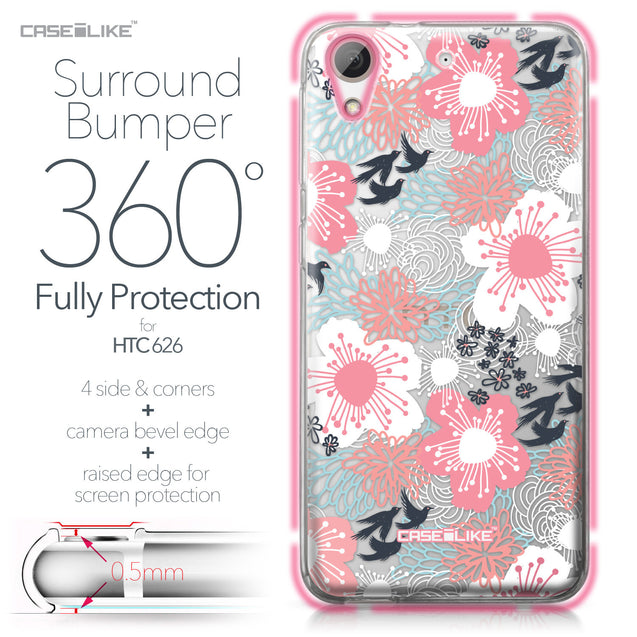 HTC Desire 626 case Japanese Floral 2255 Bumper Case Protection | CASEiLIKE.com
