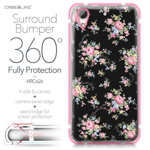 HTC Desire 626 case Floral Rose Classic 2261 Bumper Case Protection | CASEiLIKE.com