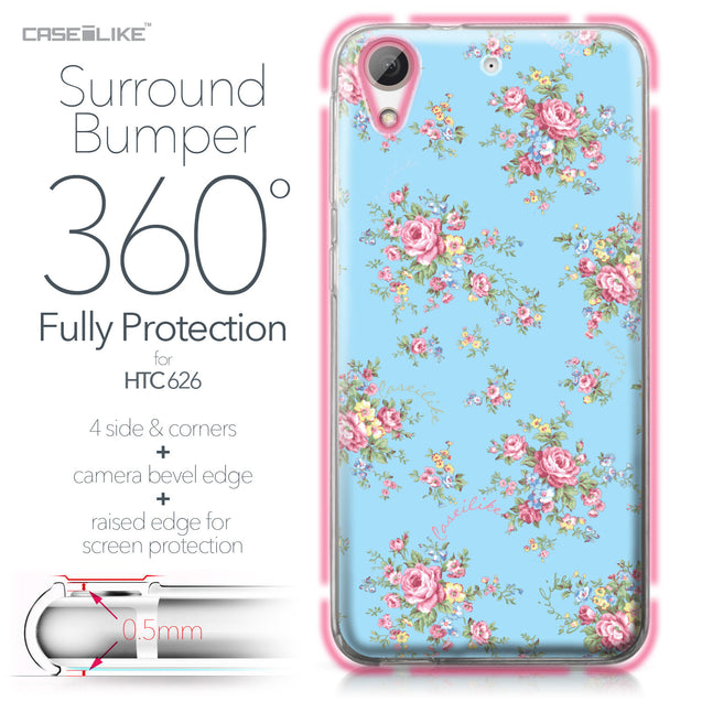 HTC Desire 626 case Floral Rose Classic 2263 Bumper Case Protection | CASEiLIKE.com