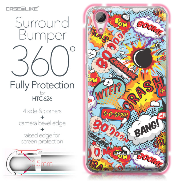 HTC Desire 626 case Comic Captions Blue 2913 Bumper Case Protection | CASEiLIKE.com