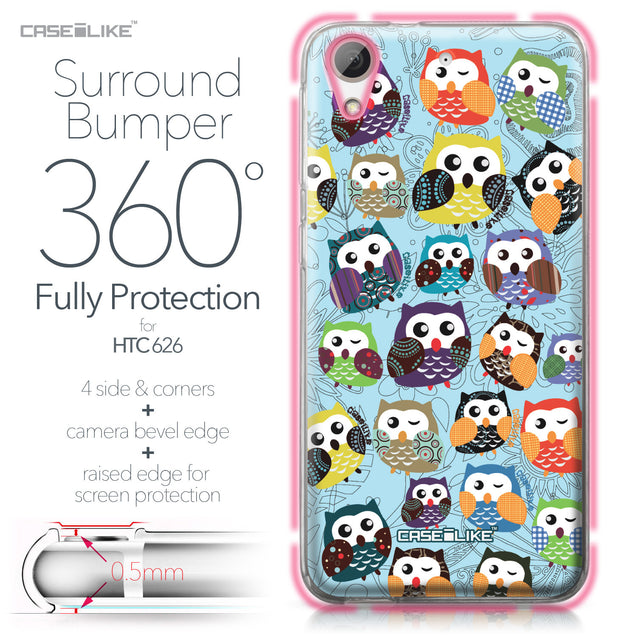 HTC Desire 626 case Owl Graphic Design 3312 Bumper Case Protection | CASEiLIKE.com