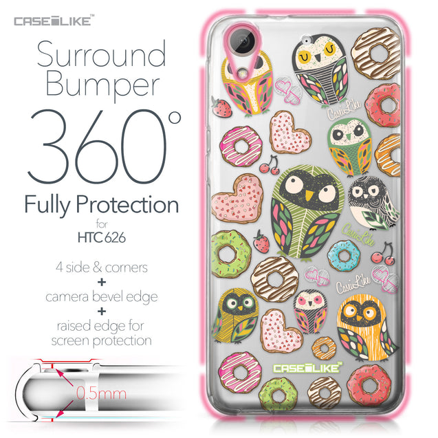 HTC Desire 626 case Owl Graphic Design 3315 Bumper Case Protection | CASEiLIKE.com