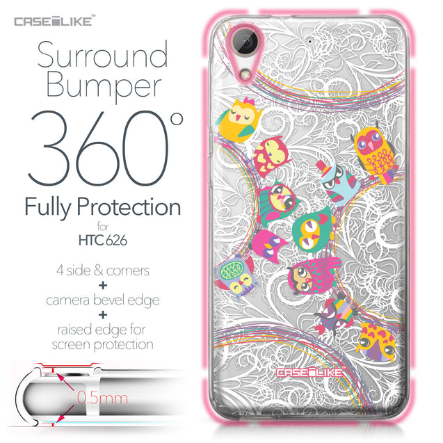 HTC Desire 626 case Owl Graphic Design 3316 Bumper Case Protection | CASEiLIKE.com
