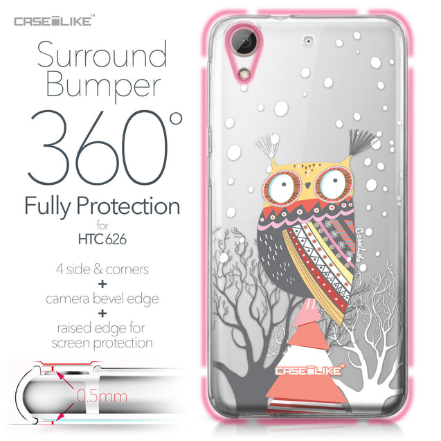 HTC Desire 626 case Owl Graphic Design 3317 Bumper Case Protection | CASEiLIKE.com