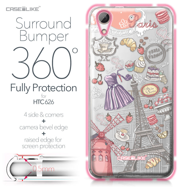 HTC Desire 626 case Paris Holiday 3907 Bumper Case Protection | CASEiLIKE.com