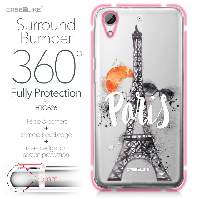 HTC Desire 626 case Paris Holiday 3908 Bumper Case Protection | CASEiLIKE.com