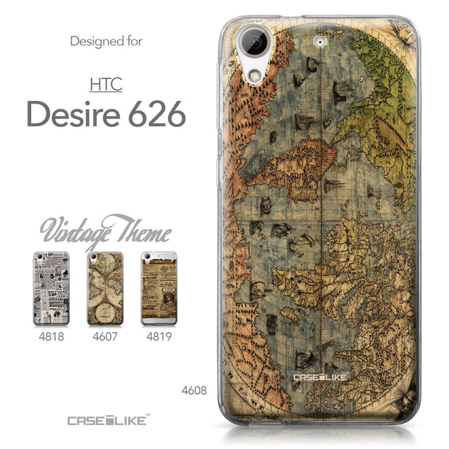 HTC Desire 626 case World Map Vintage 4608 Collection | CASEiLIKE.com