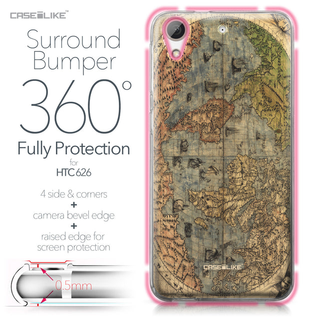 HTC Desire 626 case World Map Vintage 4608 Bumper Case Protection | CASEiLIKE.com