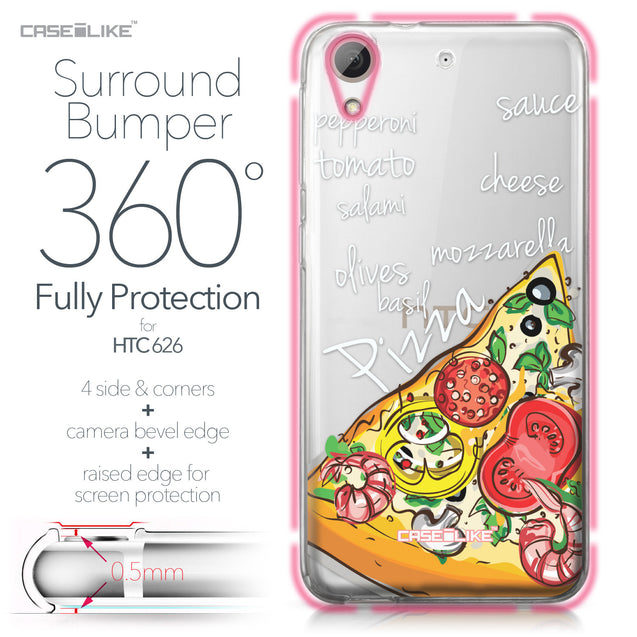 HTC Desire 626 case Pizza 4822 Bumper Case Protection | CASEiLIKE.com