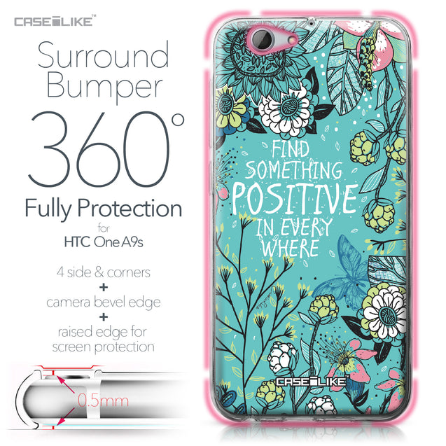 HTC One A9s case Blooming Flowers Turquoise 2249 Bumper Case Protection | CASEiLIKE.com