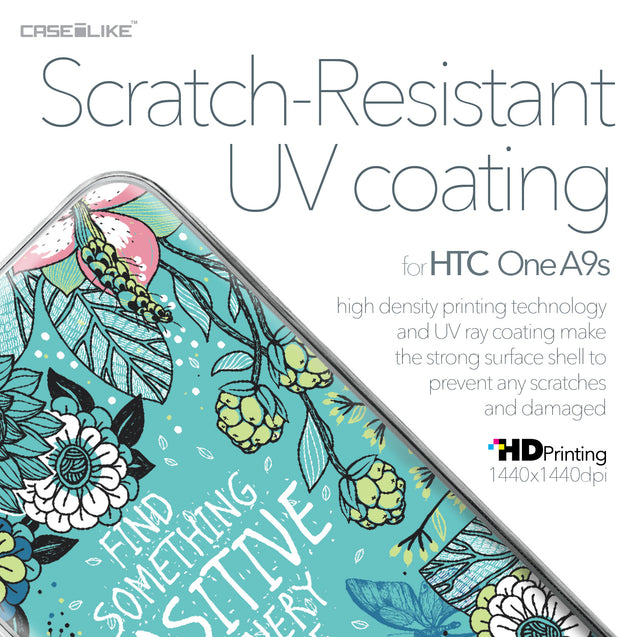 HTC One A9s case Blooming Flowers Turquoise 2249 with UV-Coating Scratch-Resistant Case | CASEiLIKE.com