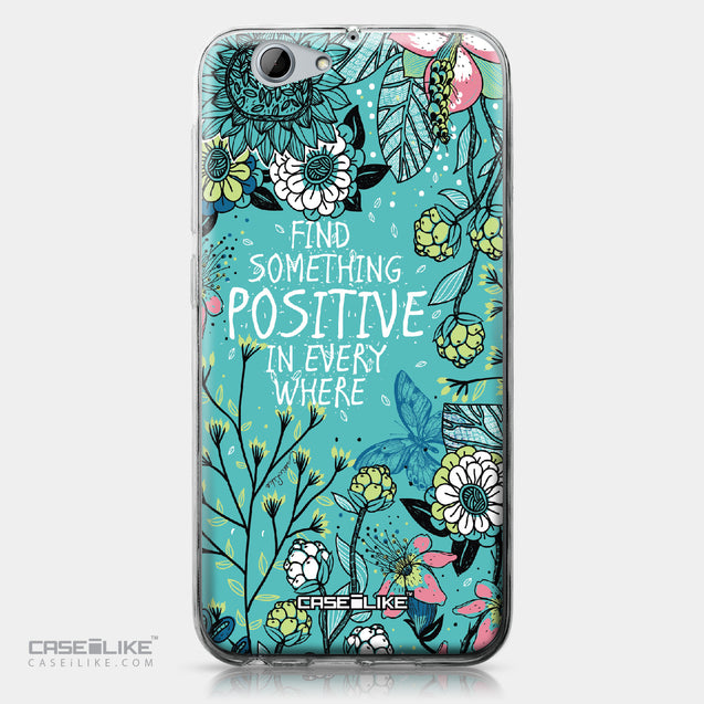 HTC One A9s case Blooming Flowers Turquoise 2249 | CASEiLIKE.com